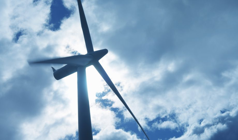 Low angle view of turbine on windfarm